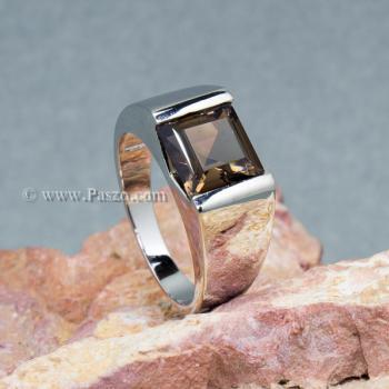 แหวนผู้ชาย แหวนผู้ชายพลอยสี่เหลี่ยม พลอยสโมกกี้ควอตซ์ #6