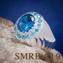 แหวนพลอยสีฟ้า แหวนผู้ชายเงินแท้ พลอยสีฟ้า แหวนผู้ชาย