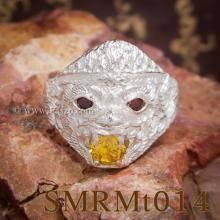 แหวนหนุมาน คาบแก้ว บุษราคัม โกเมน แหวนเงินแท้ 925 แหวนผู้ชาย