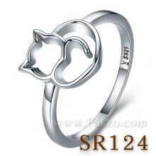 แหวนแมว แหวนเงิน แหวนรูปหัวใจ แมวหัวใจ