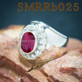 แหวนพลอยสีแดง แหวนผู้ชาย แหวนผู้ชายเงินแท้ #6