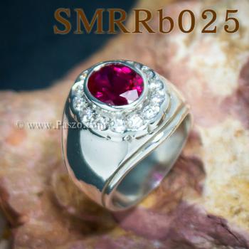 แหวนพลอยสีแดง แหวนผู้ชาย แหวนผู้ชายเงินแท้ #3