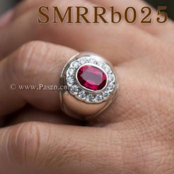 แหวนพลอยสีแดง แหวนผู้ชาย แหวนผู้ชายเงินแท้ #2