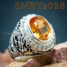แหวนมังกร ฝังบุษราคัม ล้อมเพชร แหวนผู้ชายเงินแท้ รมดำ แหวนผู้ชาย