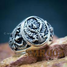 แหวนพญาครุฑ แหวนเงิน แหวนเงินผู้ชาย แหวนพญาครุฑ3องค์ รมดำ