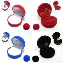 กล่องใส่แหวนทรงกลม หุ้มกำมะหยี่สีแดง น้ำเงิน ดำ ด้านในสี และ แดง