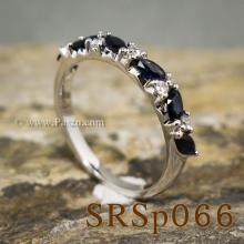 แหวนไพลิน พลอยทรงมาคี คั่นเพชร แหวนเงินแท้
