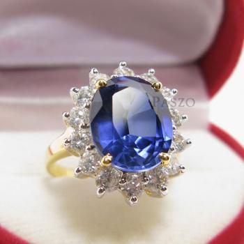 แหวนไพลิน พลอยสีน้ำเงิน ล้อมเพชร #2