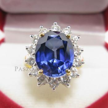 แหวนไพลิน พลอยสีน้ำเงิน ล้อมเพชร #3