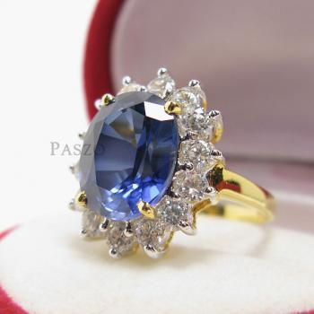 แหวนไพลิน พลอยสีน้ำเงิน ล้อมเพชร #5