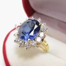 แหวนไพลิน พลอยสีน้ำเงิน ล้อมเพชร แหวนทองชุบ