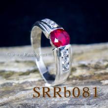 แหวนทับทิม แหวนเงิน พลอยสีแดง บ่าแหวนฝังเพชร