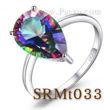 แหวนพลอยสีรุ้ง พลอยหยดน้ำ พลอยโทพาซสีรุ้ง แหวนเงินแท้ แหวนเม็ดเดี่ยว