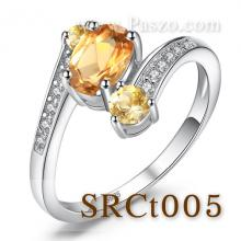 แหวนพลอยซิทริน พลอย3เม็ด แหวนเงินแท้