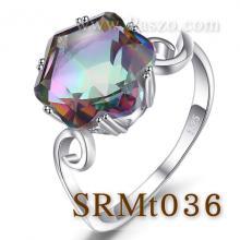 แหวนพลอยสีรุ้ง พลอยรูปดาว แหวนเงิน เม็ดเดี่ยว แหวนขนาดใหญ่