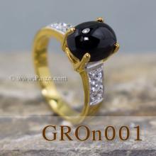 แหวนนิล แหวนทองแท้ ฝังนิล บ่าแหวนฝังเพชร