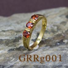 แหวนโกเมน แหวนทองแท้ พลอยสีส้ม พลอยสามเม็ด