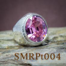 แหวนผู้ชายเงินแท้ พลอยสีชมพู แหวนเรียบๆ แหวนผู้ชาย
