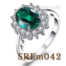 แหวนพลอยมรกต แหวนล้อมเพชร แหวนเงินแท้ แหวนพลอยสีเขียว