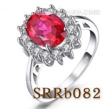 แหวนพลอยทับทิม ล้อมเพชร แหวนเงินแท้ พลอยสีแดง