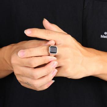 แหวนนิล แหวนผู้ชายพลอยสี่เหลี่ยม แหวนสแตนเลส #4