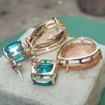 ต่างหูเงินชุบด้วยทองคำ ต่างหูพลอย2สี  #2