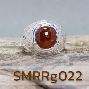 แหวนโกเมนผู้ชาย แหวนผู้ชายเงินแท้ แหวนทรงมอญ #4