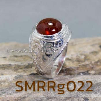 แหวนโกเมนผู้ชาย แหวนผู้ชายเงินแท้ แหวนทรงมอญ #5