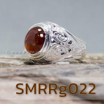 แหวนโกเมนผู้ชาย แหวนผู้ชายเงินแท้ แหวนทรงมอญ #3
