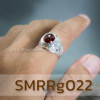 แหวนโกเมนผู้ชาย แหวนผู้ชายเงินแท้ แหวนทรงมอญ #2