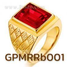 แหวนผู้ชาย แหวนทองชุบ พลอยทับทิม เม็ดสี่เหลี่ยม แหวนสแตนเลส พลอยสีแดง