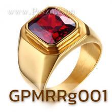 แหวนผู้ชาย พลอยโกเมน สีแดง แหวนทองชุบ แหวนสแตนเลส