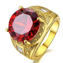 แหวนพลอยโกเมน พลอยสีแดง แหวนผู้ชาย แหวนทองชุบ