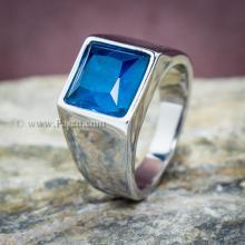 แหวนผู้ชาย พลอยสีฟ้า แหวนสแตนเลส พลอยสี่เหลี่ยม