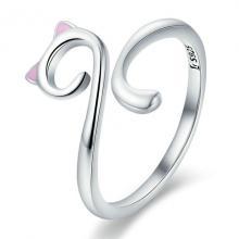 แหวนแมว แหวนปรับขนาดได้ แหวนเงิน แหวนแมวหูชมพู