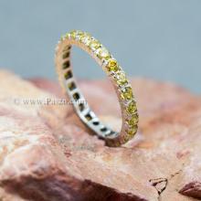 แหวนพลอยบุษราคัม ฝังพลอยรอบวง พลอยสีเหลือง แหวนเงินแท้