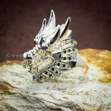 แหวนหัวมังกร ฝังพลอย3สี แหวนผู้ชาย แหวนเงินแท้