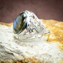 แหวนหินลาบราดอไรท์ แหวนฉลุลายดอกไม้ แหวนเงินแท้ แหวนผู้ชาย