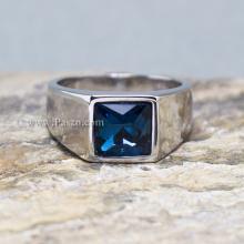 แหวนผู้ชาย แหวนสแตนเลส แหวนพลอยสีฟ้า