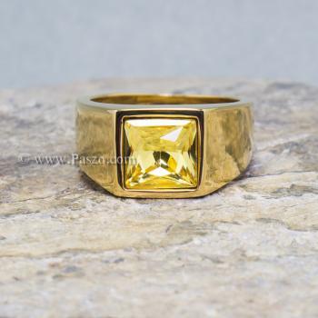 แหวนพลอยสีเหลือง บุษราคัม แหวนทองชุบ #3