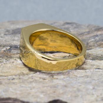 แหวนผู้ชาย ฝังพลอยสีเขียวมรกต แหวนทองชุบ #4