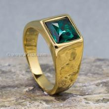 แหวนผู้ชาย ฝังพลอยสีเขียวมรกต แหวนทองชุบ