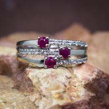 แหวนพลอยทับทิม พลอยแท้ ประดับเพชร แหวนเงินแท้