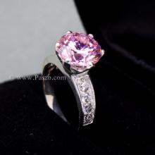 แหวนพลอยสีชมพู บ่าแหวนฝังเพชร แหวนเงินแท้ หัวแหวนชูสูง