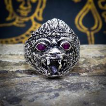 แหวนหนุมาน ฝังพลอยทับทิม รมดำ แหวนเงินแท้