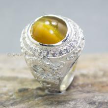 แหวนพลอยตาเสือ แหวนมังกร แหวนผู้ชาย แหวนเงินแท้ ล้อมเพชร