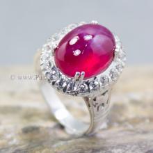 แหวนทับทิม แหวนเงินแท้ บ่าแหวนฝังเพชร