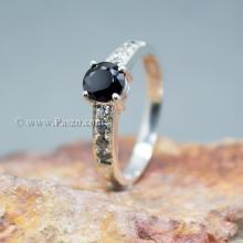 แหวนนิล เม็ดกลม บ่าฝังเพชร แหวนเงินแท้