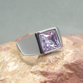 แหวนผู้ชาย พลอยสีม่วง แหวนสแตนเลส #2