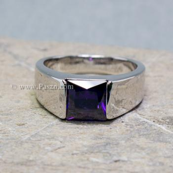 แหวนพลอยอะเมทิสต์ แหวนผู้ชาย พลอยสี่เหลี่ยม #3